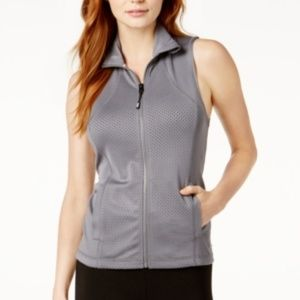 NWT! Tommy Hilfiger Perforated Zip-Front Vest Grey